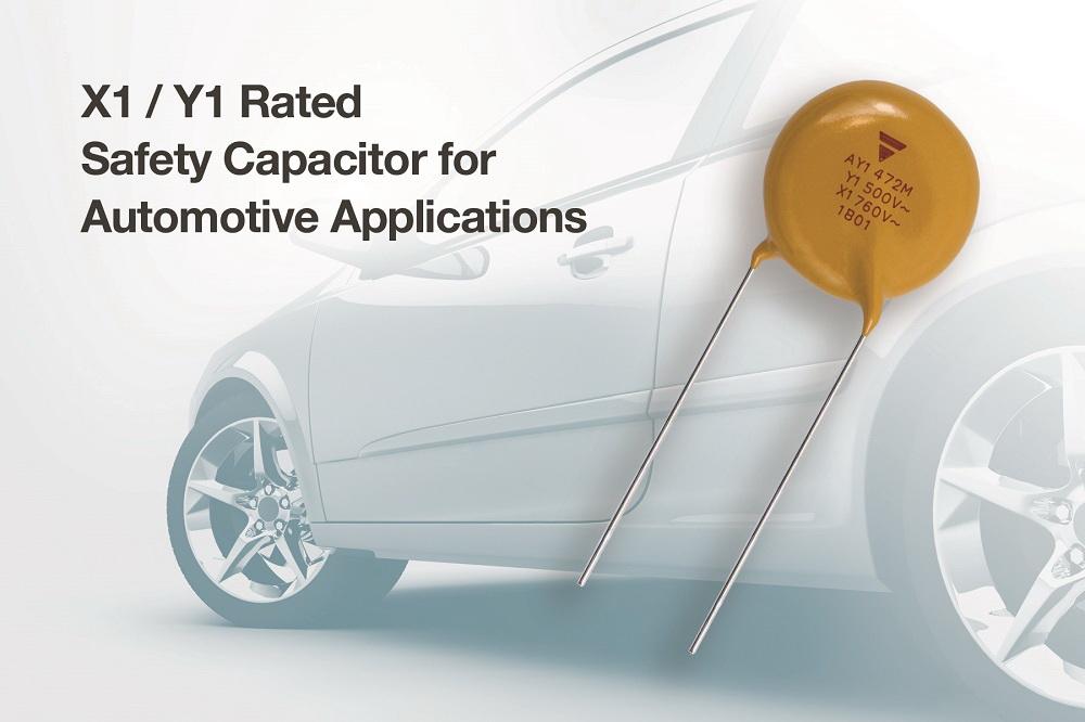 Vishay推出业内首款通过AEC-Q200认证,适用于Class X1 / Y1应用的陶瓷盘式电容器