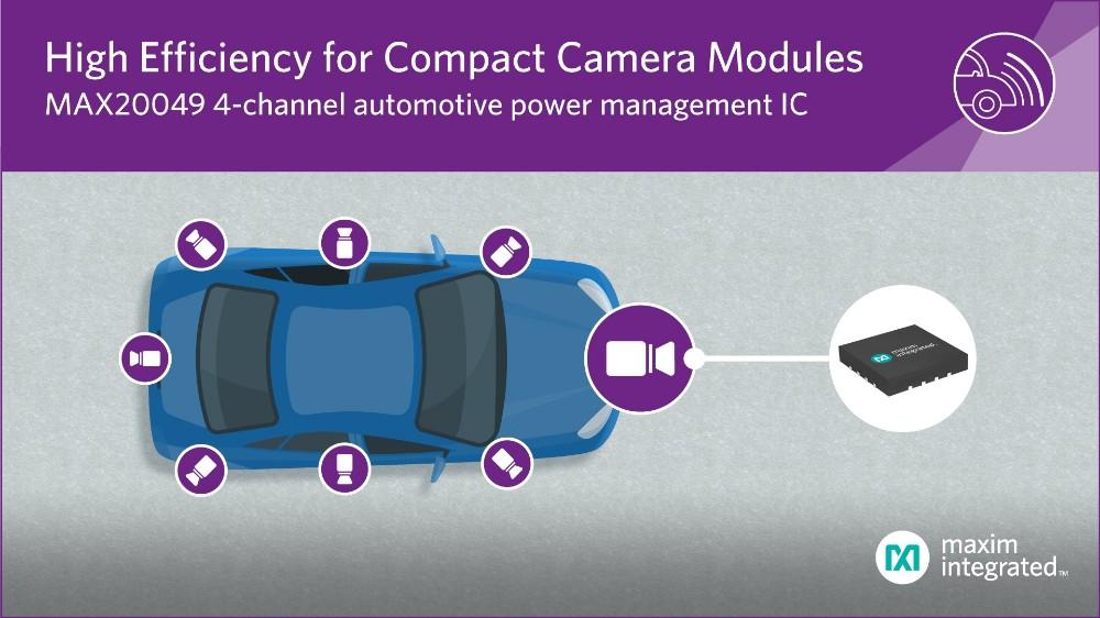 Maxim发布四通道电源管理IC,为汽车摄像模块提供最紧凑解决方案