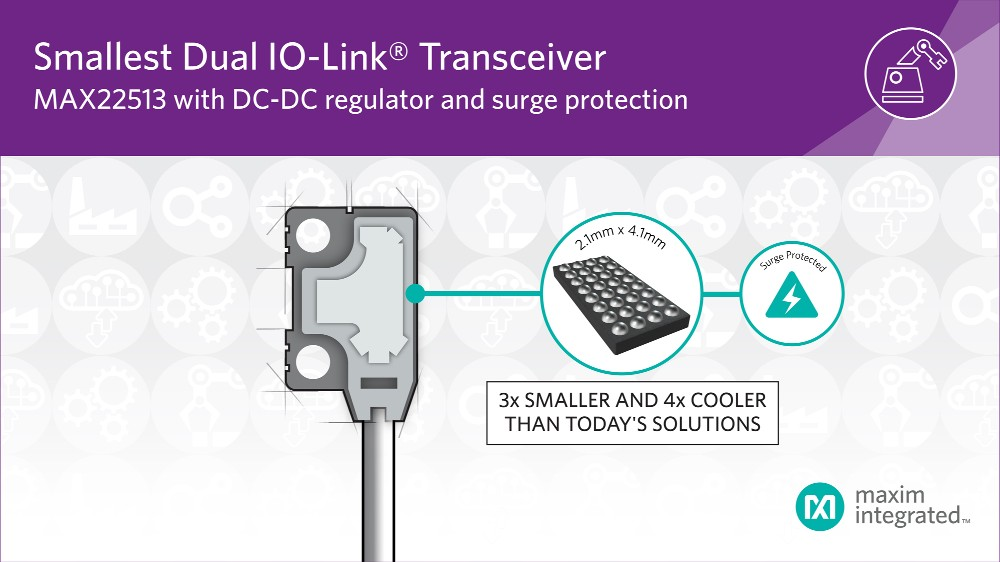 Maxim发布行业最小尺寸、最高电源效率的双驱动IO-Link收发器,集成DC-DC调节器和浪涌保护