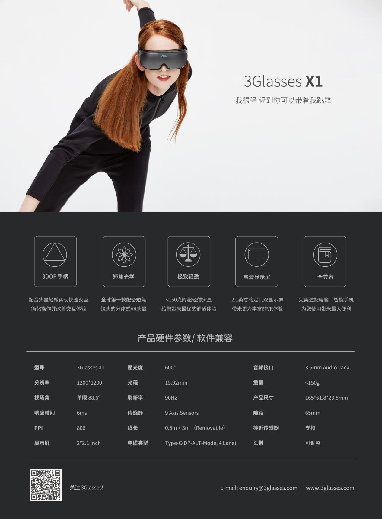3GlassesX1:全球首款消费级超薄VR眼镜