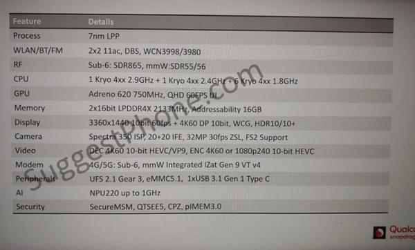 高通骁龙735处理器规格曝光:7nm大中小8核设计、2.9GHz