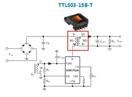 用于3W以下的AC/DC汽车级隔离SMD变压器 ——TTLS03-15B-T系列