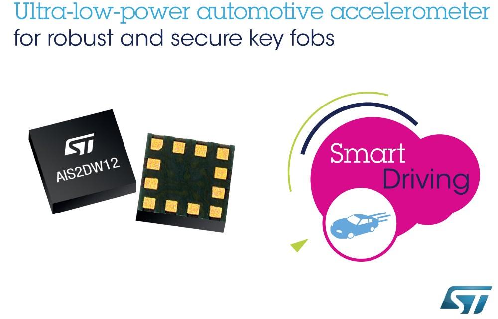 意法半導體發布穩健耐用的低功耗汽車加速度計,提高汽車安全遙控鑰匙卡的耐用性