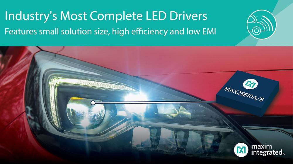 Maxim发布结构紧凑的LED驱动器,凭借高效率、低EMI为业界提供最完备的方案