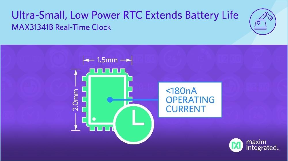 Maxim 發布最新nanoPower實時時鐘,提供行業最小封裝和最長電池壽命