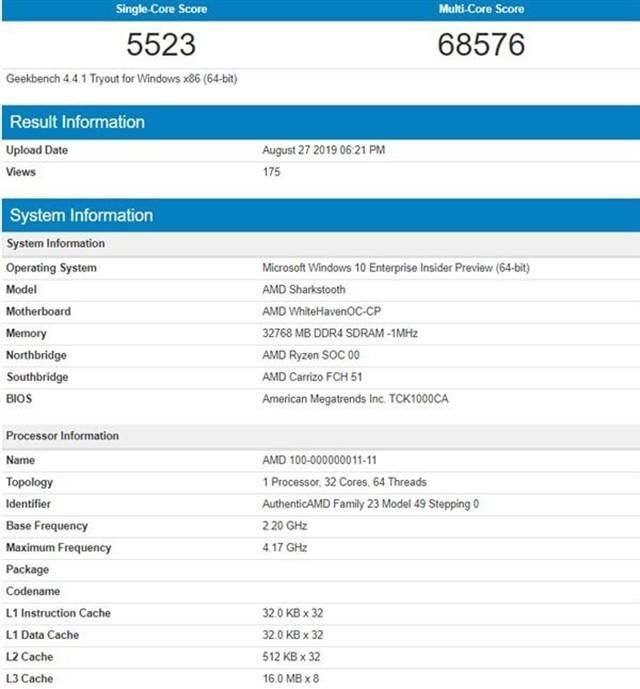 AMD新款线程撕裂者跑分再曝 加速可达4.2GHz
