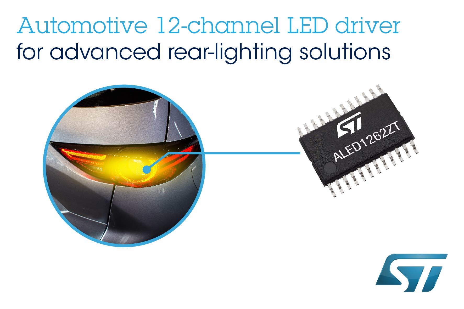 ST推出灵活的车规级12通道LED驱动芯片,简化当下最先进的车灯设计