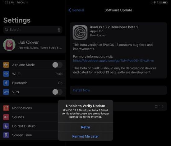 iPadOS 13.2 Beta 2 將部分用戶的iPad Pro變磚