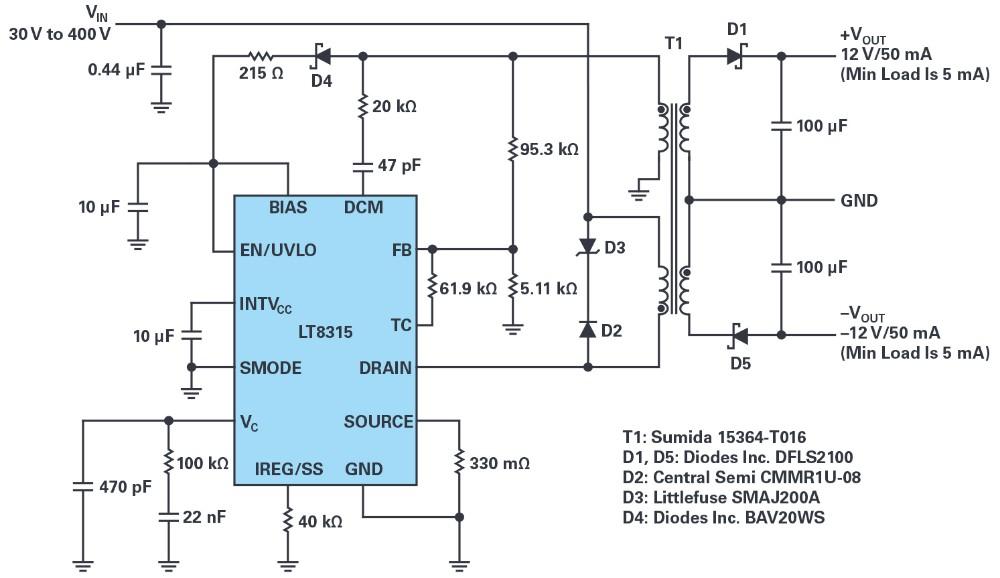 采用单个IC从30V至400V输入产生隔离或非隔离±12 V输出