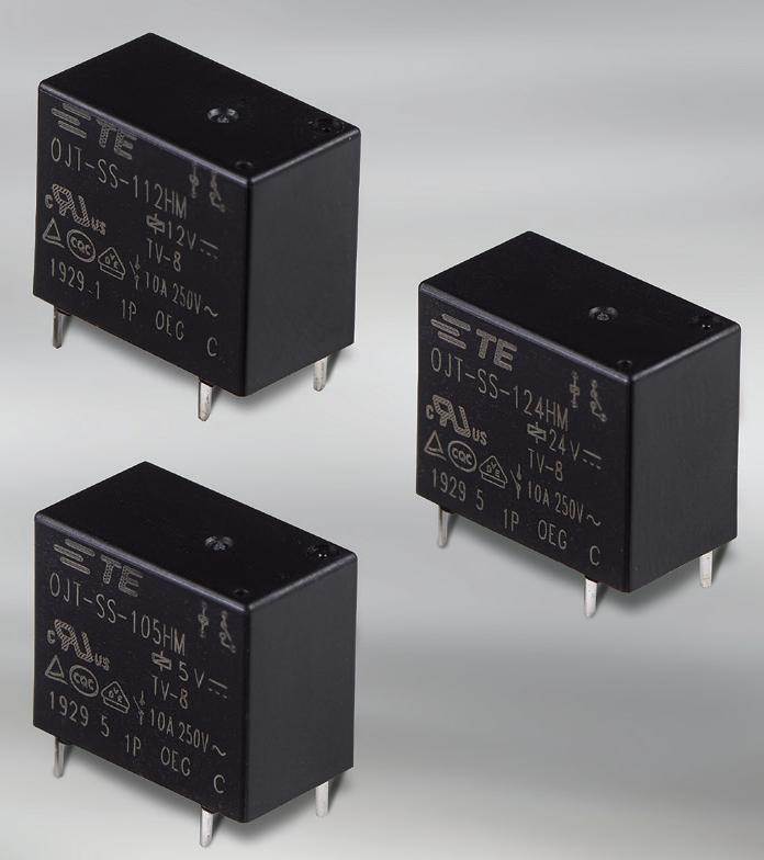 TE Connectivity推出新型TV-8 负载标准OJT 10A功率继电器