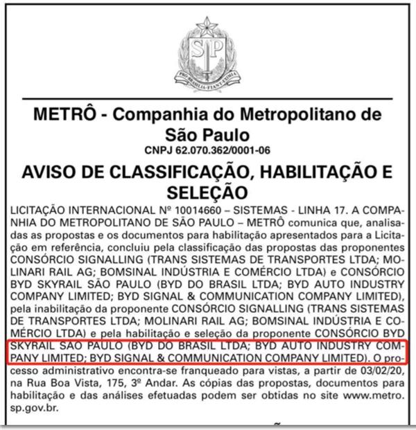"""30天在巴西连下两城!比亚迪中标圣保罗轨道交通""""黄金线"""":老外大赞云轨方案"""
