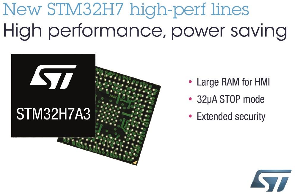 意法半导体推出适用于智能设备的STM32H7新产品线,融性能、集成度和能效于一身
