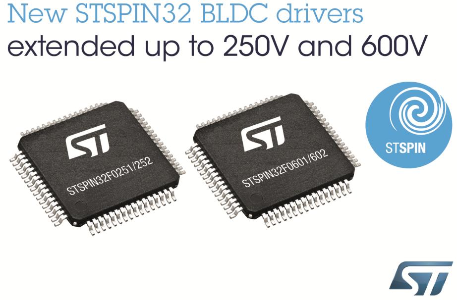 意法半导体发布面向高电压应用的新STSPIN32 BLDC电机驱动器