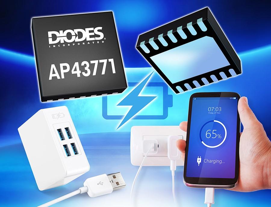 Diodes 公司推出的第二代 USB PD 控制器为低待机功率的快速充电器解决方案提供平台