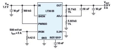 提高极低压差稳压器输出电流,用并联实现均匀散热