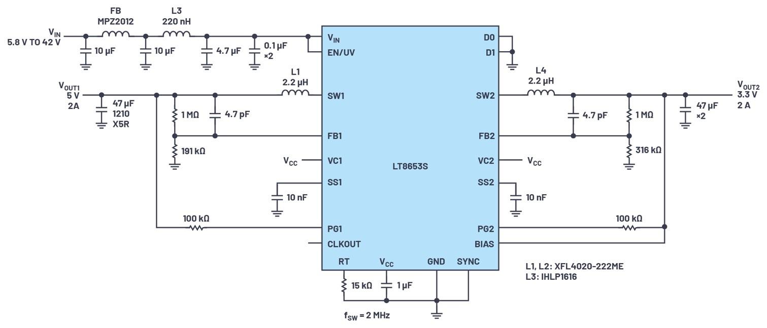 具有6.2 µA静态电流的双通道、42 V、2 A、单片、同步降压型Silent Switcher 2稳压器
