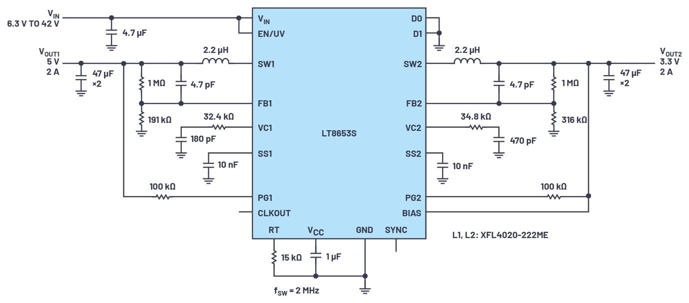 ADI技术文章图3 - 具有6.2 µA静态电流的双通道、42 V、2 A、单片、同步降压型Silent Switcher 2稳压器.jpg