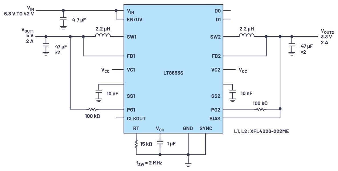 ADI技术文章图5 - 具有6.2 µA静态电流的双通道、42 V、2 A、单片、同步降压型Silent Switcher 2稳压器.jpg