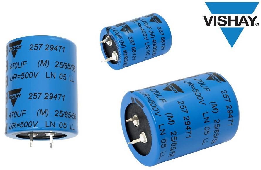 Vishay最新推出的卡扣式功率铝电容器可提高功率密度,节省电路板空间并降低成本