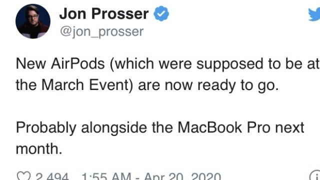 消息称苹果AirPods新品或于5月和新款13寸MacBook Pro一同亮相