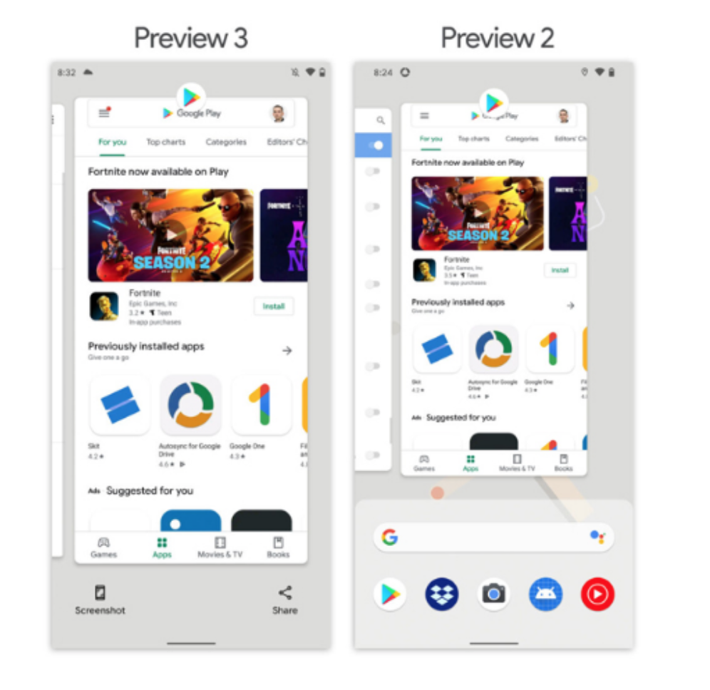 Android 11界面再调整:加入快速截屏、多任务
