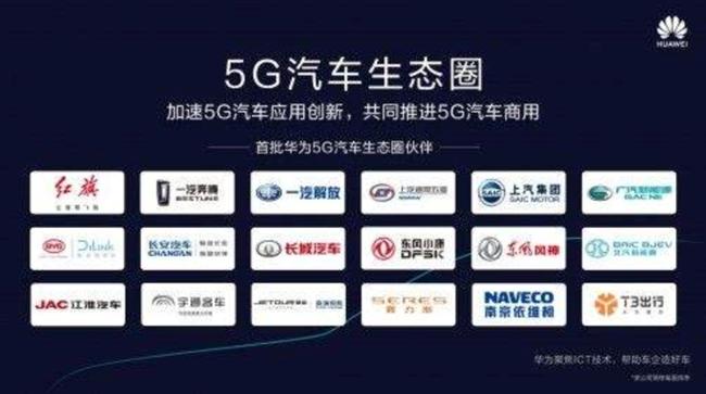 华为宣布成立5G汽车生态圈,首批合作18家车企亮相