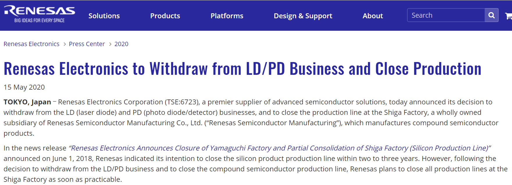 瑞萨宣布关闭滋贺工厂,并退出LD/PD业务