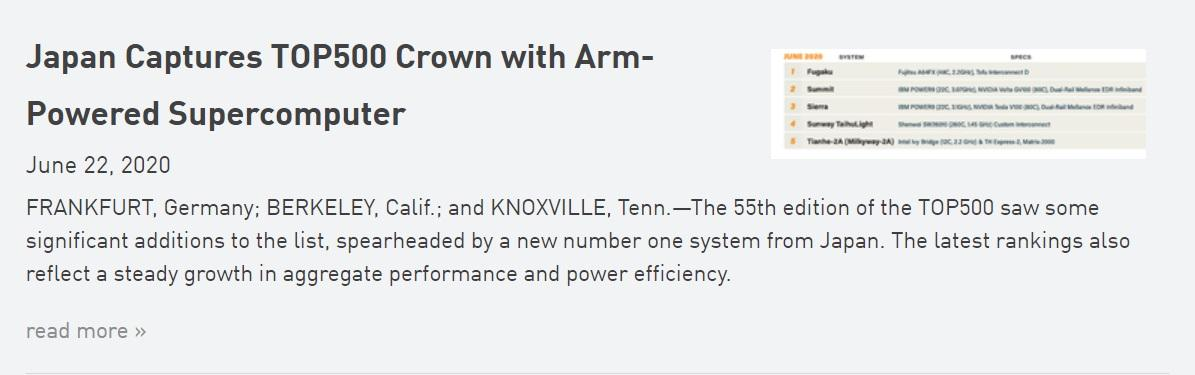ARM 夺得超级计算机 TOP500 桂冠