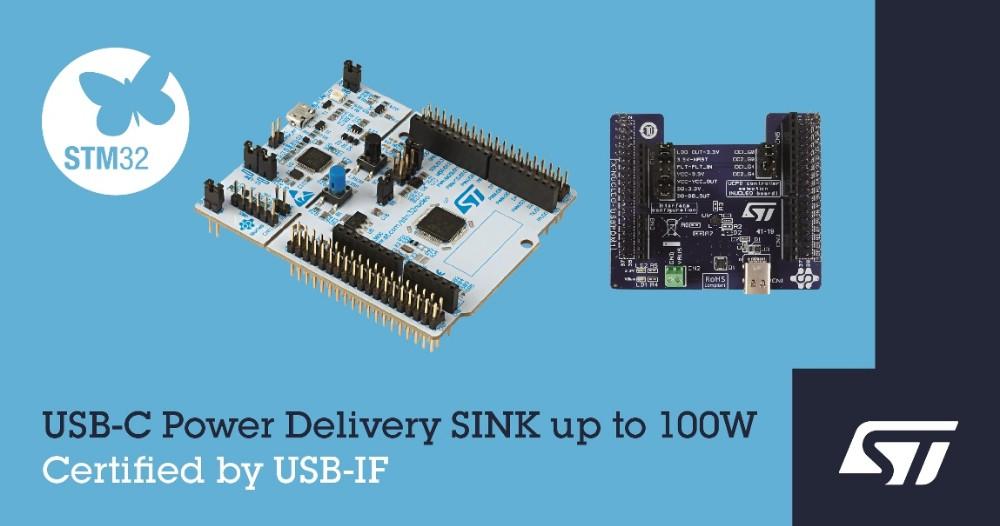 意法半导体推出USB-IF认证开发板,将USB-C和USB快充功能延伸到嵌入式应用
