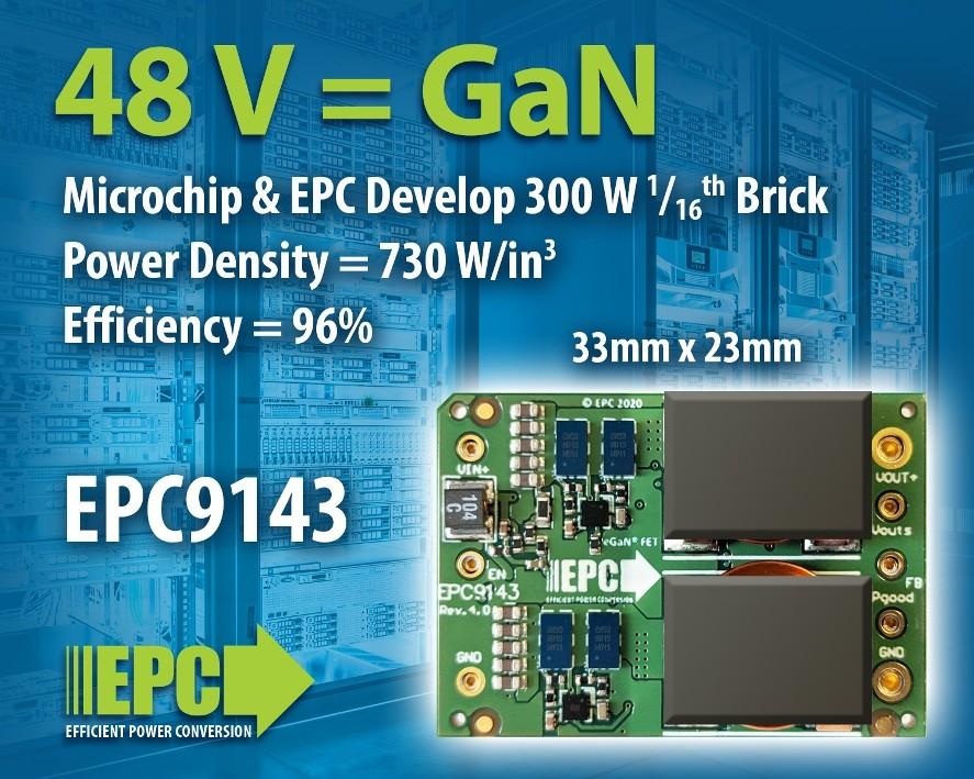 EPC和Microchip公司携手开发用于高功率密度计算应用和数据中心的 300 W、1/16砖式48 V/12 V DC/DC转换器演示板