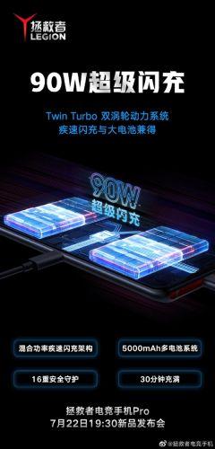 联想拯救者电竞手机Pro首发90W闪充:30分钟充满5000mAh