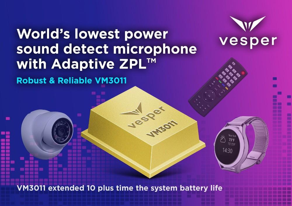 "Vesper发布业界首个Adaptive ZeroPower Listening™器件,能在智能家居设备中实现""免提""功能"