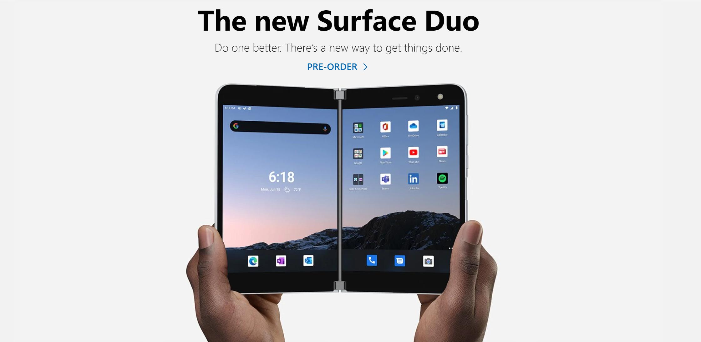 微软双屏手机Surface Duo下月10日发售 起价1399美元