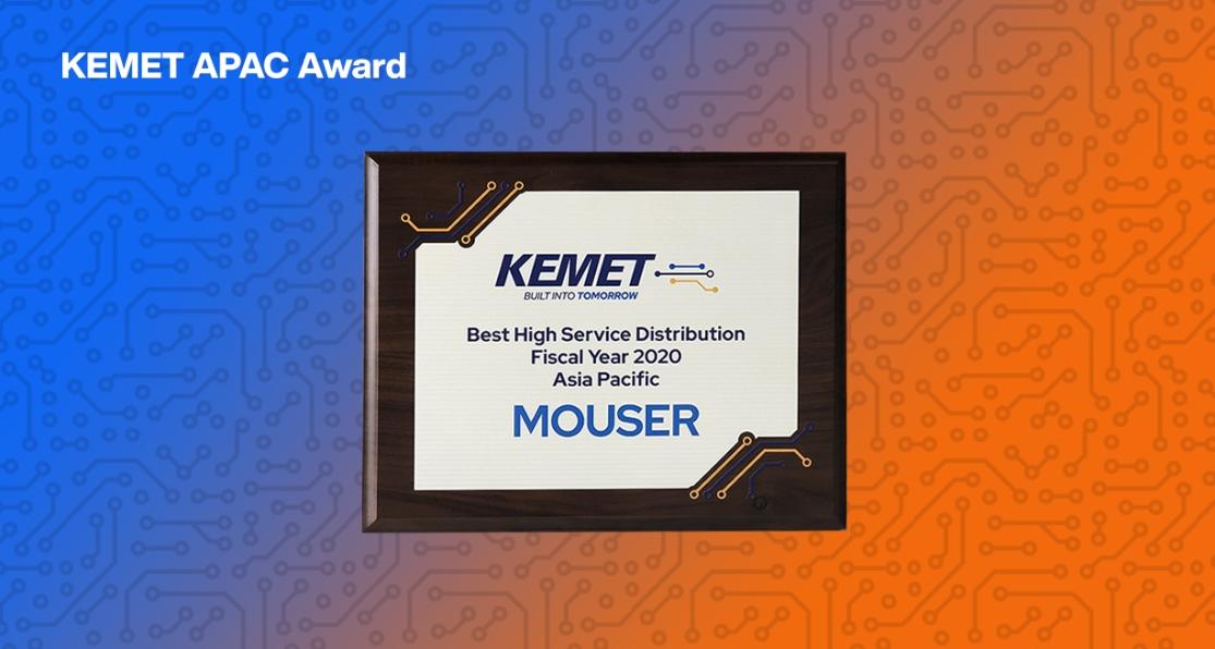 贸泽电子荣获KEMET 2020年度亚太区优质服务分销商奖