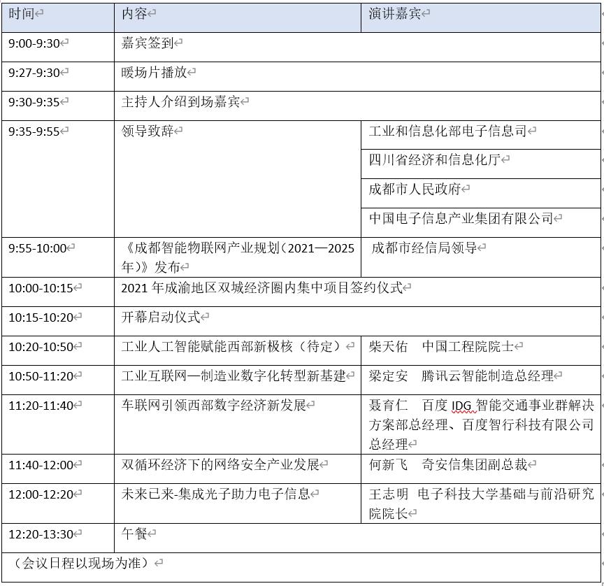 最新最全論壇日程新鮮出爐!第九屆中國(西部)電子信息博覽會走起!
