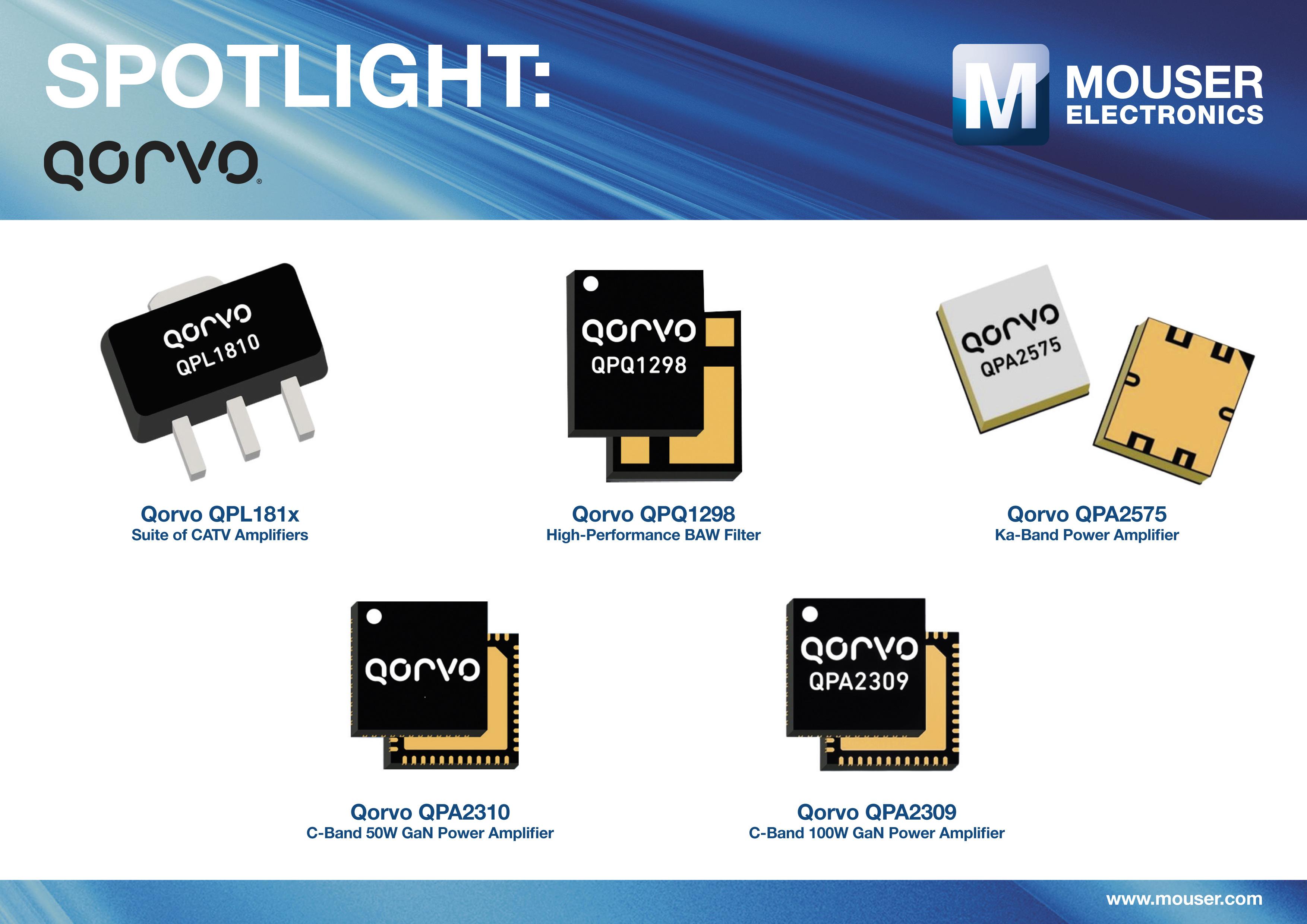 貿澤備貨Qorvo 豐富多樣的射頻、雷達和有線電視產品系列