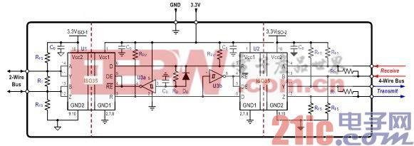 图 4 双隔离式二到四线转换器设计