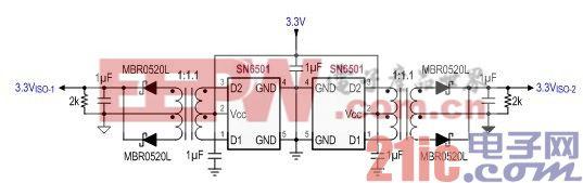 图 5 VISO-1 和 VISO-2 的隔离式电源设计