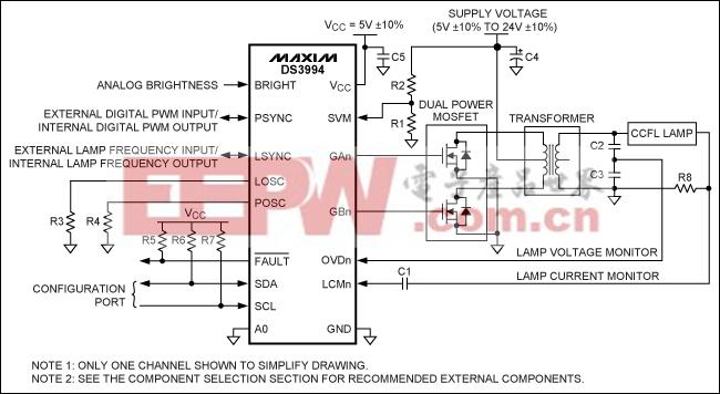 图1. 每个通道驱动一个灯管的典型工作电路