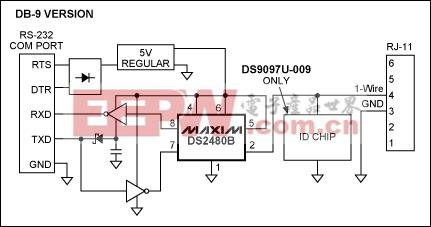 Figure 1. DS9097U schematic, DB-9 version.