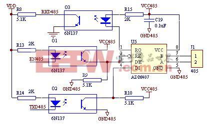 图1  ADM487E典型应用电路