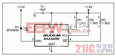 MAX44000典型电路,包括LED
