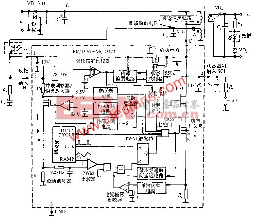 MC33370系列产品的内部框图  www.elecfans.com