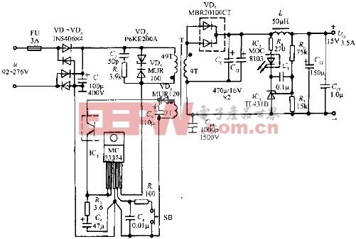 由MC33374T/TV构成52W开关电源的电路