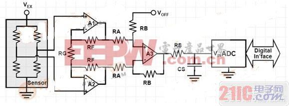 基本压力传感器调节电路。