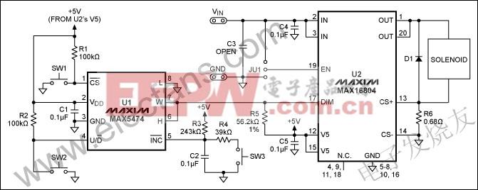 数字驱动电路提供了一个比例电磁铁驱动器 www.elecfans.com