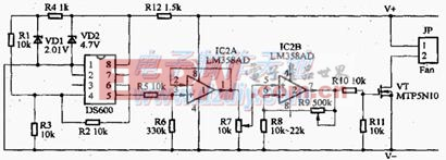 用DS600构成的温度控制器电路图DS600 Temperature controller