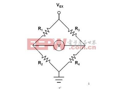 图1:受激励电压VEX和差分输出电压V驱动的惠斯顿桥。