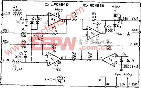高输入电阻传感放大器电路