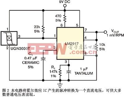 图2本电路将霍尔效应ic产生的脉冲转换为一个直流电压可供大多数普通